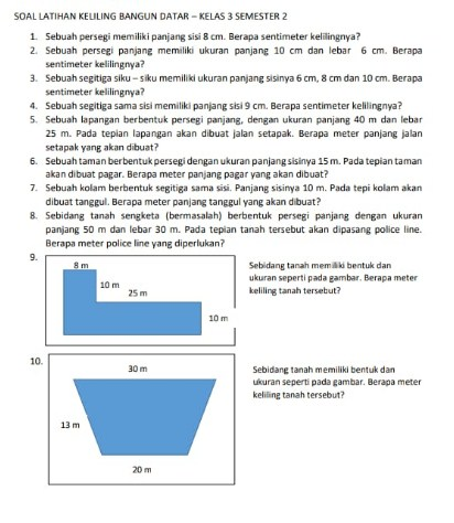 Soal Matematika Kelas 3 SD Bangun Datar